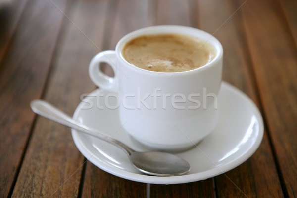 Coffe with milk white cup over teak wooden Stock photo © lunamarina