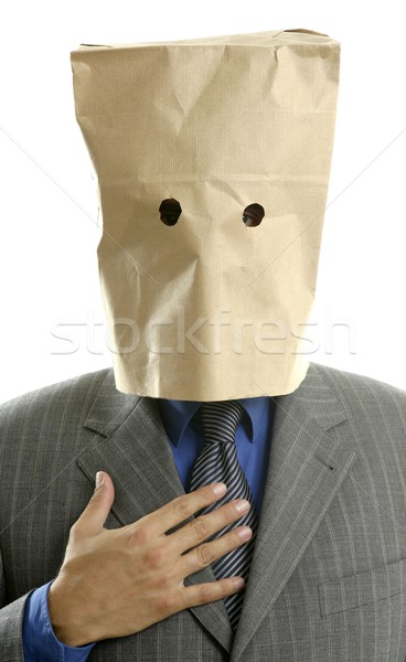 Stock photo: Businessman with paper bag in head