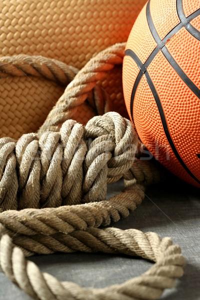 Gym corner, basketball ball and rope Stock photo © lunamarina
