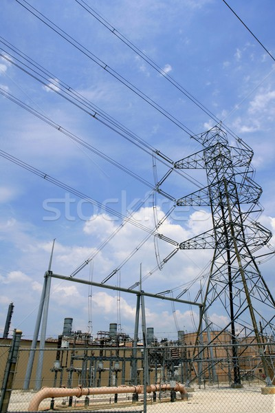 Electric tower and cables over blue sky Stock photo © lunamarina