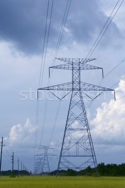 электрических башни зеленый луговой небе металл Сток-фото © lunamarina