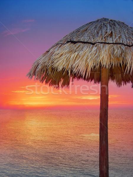 Legno ombrellone arancione tramonto Caraibi Foto d'archivio © lunamarina