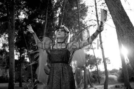 Woman dress for halloween with bloody knife Stock photo © lunamarina