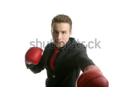 Foto stock: Boxeador · jovem · competitivo · empresário · isolado · branco