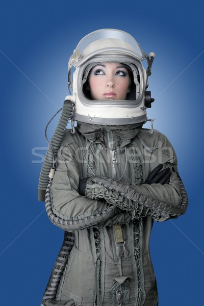 Uçak astronot kask kadın moda Stok fotoğraf © lunamarina