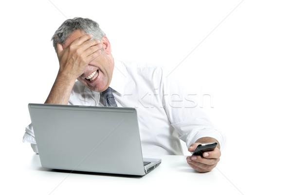 笑 高級 商人 計算機 電話 手勢 商業照片 © lunamarina
