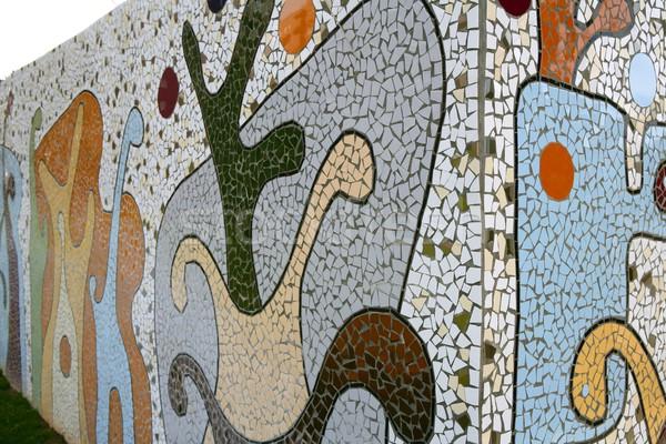 Mediterrán tákolmány csempék mozaik fal színes Stock fotó © lunamarina