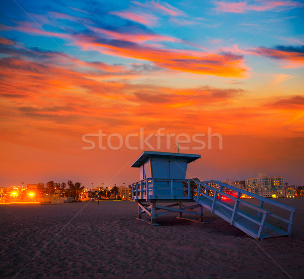 Californië zonsondergang badmeester toren Stockfoto © lunamarina