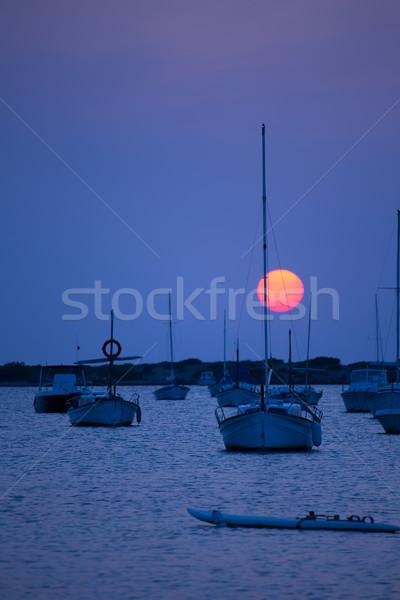 Formentera sunset at Estany des Peix lake Stock photo © lunamarina