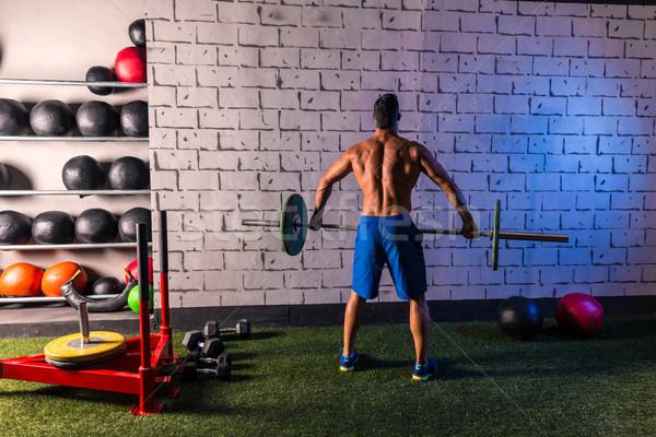 Barbell gewichtheffen man achteraanzicht training gymnasium Stockfoto © lunamarina