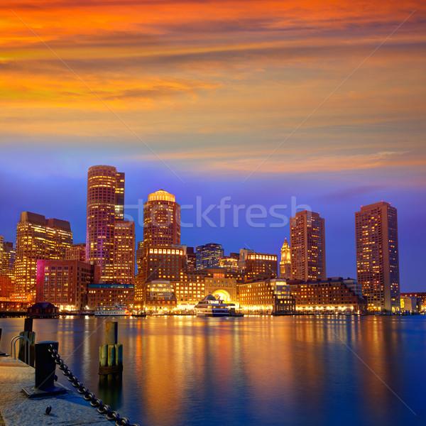 Stock photo: Boston sunset skyline at Fan Pier Massachusetts