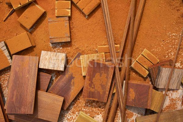 Carpeenter sawdust and decking pieces Stock photo © lunamarina