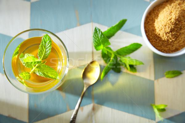 зеленый чай мята стиль древесины синий белый Сток-фото © lunamarina