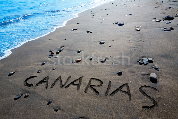 Canarias word written spell black sand Canary Islands Stock photo © lunamarina