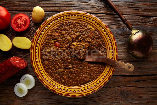 Lenteja sopa placa mediterráneo receta Foto stock © lunamarina