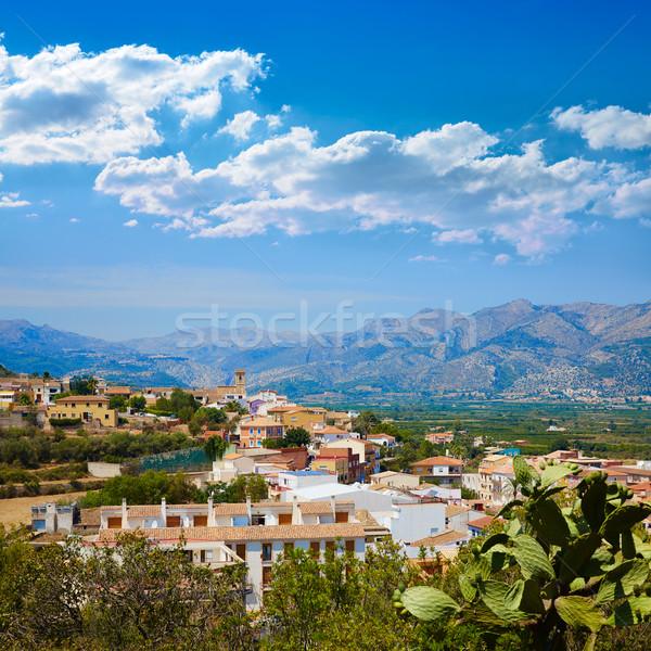 村 スペイン 市 太陽 山 青 ストックフォト © lunamarina