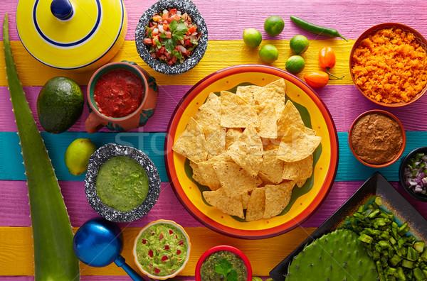 Nachos tortilla chips with mexican sauces Stock photo © lunamarina