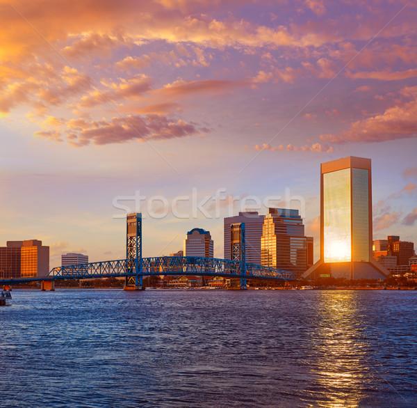 Skyline вечер Флорида США синий реке Сток-фото © lunamarina