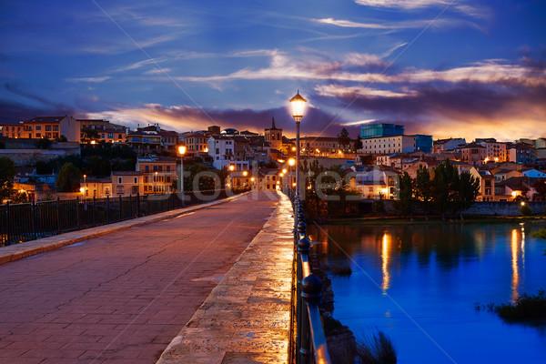 Zamora Puente de Piedra bridge on Duero Stock photo © lunamarina