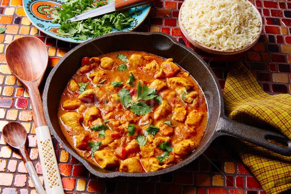 Kip curry indian recept basmati rijst keuken Stockfoto © lunamarina
