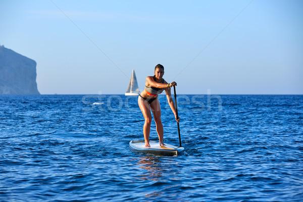 стоять вверх поиск девушки синий океана Сток-фото © lunamarina