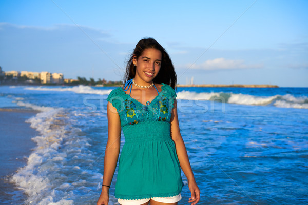 Latin beautiful girl in Caribbean beach sunset Stock photo © lunamarina