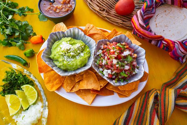 Mexican guacamole and pico gallo sauces Stock photo © lunamarina