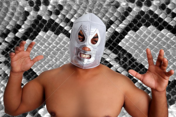 mexican wrestling mask silver fighter gesture Stock photo © lunamarina