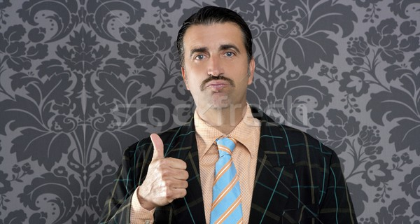 Nerd retro człowiek biznesmen pozytywny Zdjęcia stock © lunamarina