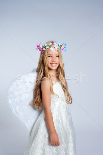 Stock photo: Angel children little girl portrait with fashion wings