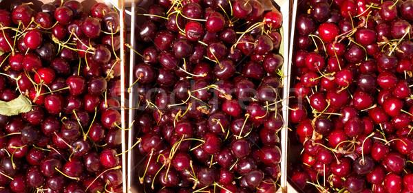 Kers Rood vruchten houten water voedsel Stockfoto © lunamarina