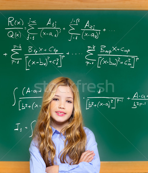 Dziecko smart student dziewczyna trudny matematyki Zdjęcia stock © lunamarina