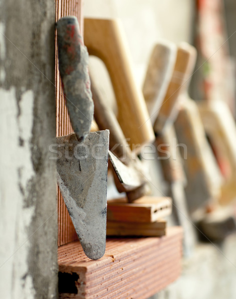 Stock photo: Construction mason cement mortar tools