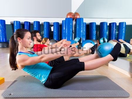 Aerobics pilates women with yoga balls Stock photo © lunamarina