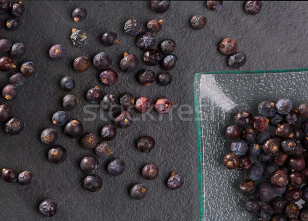 juniper berries macro detail closeup on black Stock photo © lunamarina