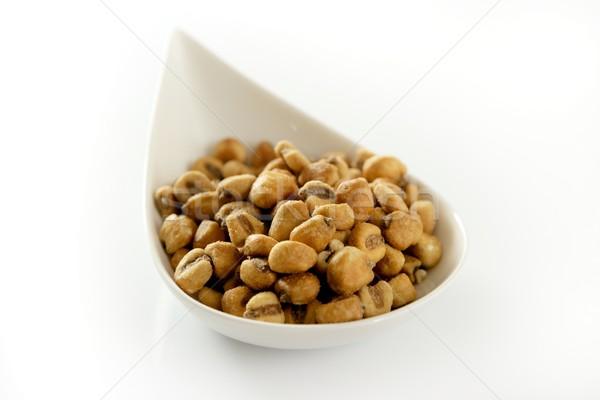 Sózott kukorica tál fehér stúdió Stock fotó © lunamarina
