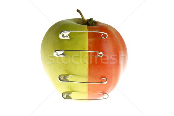 Genetic fruit manipulation with apple and tomato Stock photo © lunamarina