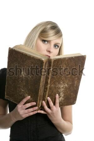 Loiro belo estudante mulher leitura velho livro Foto stock © lunamarina
