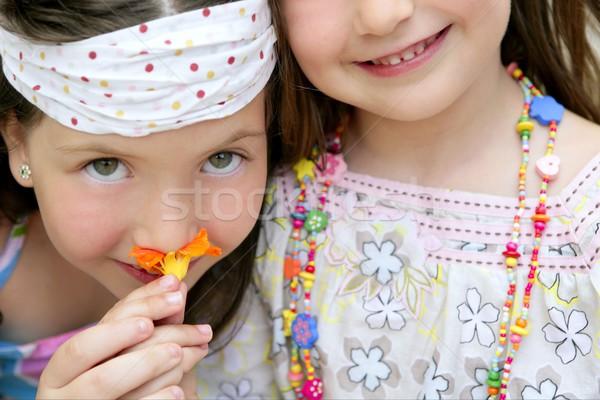 Porträt zwei kleines Mädchen Schwestern wenig Stock foto © lunamarina