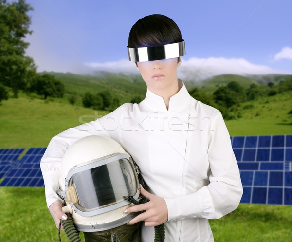 未来的な 宇宙船 航空機 宇宙飛行士 ヘルメット 女性 ストックフォト © lunamarina
