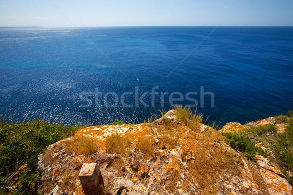 Türkiz mediterrán tenger természet tájkép háttér Stock fotó © lunamarina