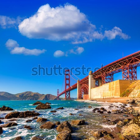 Foto stock: San · Francisco · Golden · Gate · Bridge · praia · Califórnia · EUA · céu