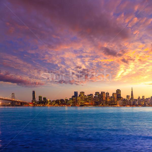 San Francisco coucher du soleil Skyline Californie eau réflexion Photo stock © lunamarina