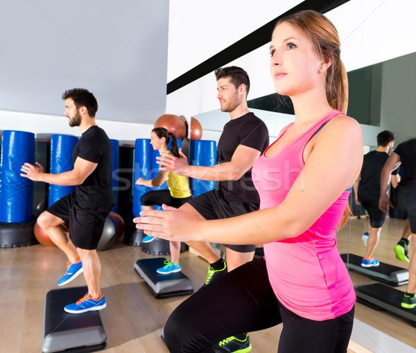 Cardio krok dance grupy fitness siłowni Zdjęcia stock © lunamarina