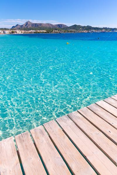 Platja de Alcudia beach pier in Mallorca Majorca Stock photo © lunamarina