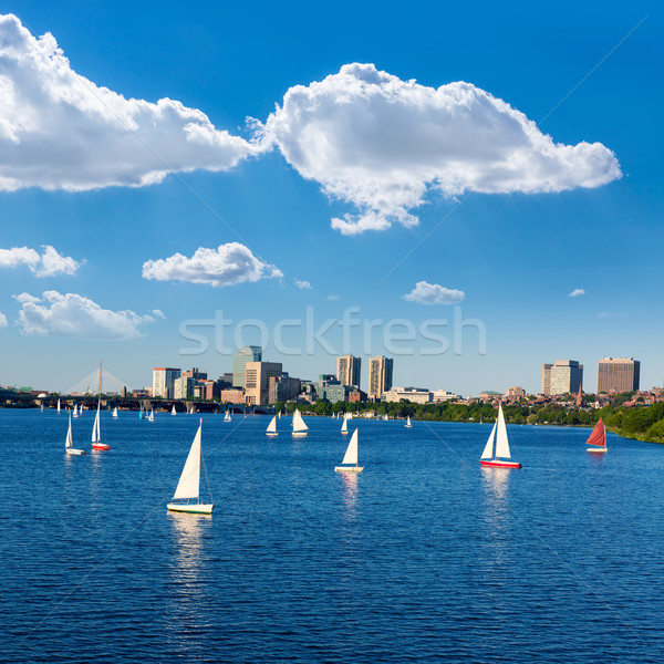 Boston Harvard Bridge in Charles river Stock photo © lunamarina