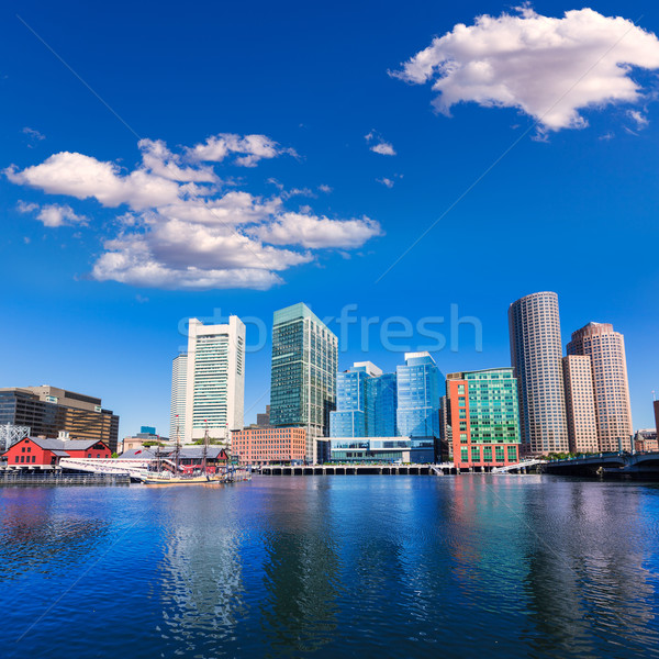 Boston linha do horizonte ventilador pier luz solar Massachusetts Foto stock © lunamarina