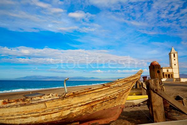 Cabo de Gata in San Miguel Beach Salinas church Stock photo © lunamarina
