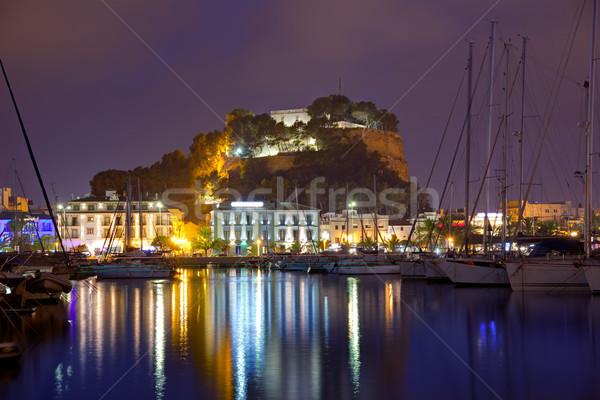 порта закат марина Испания сумерки Средиземное море Сток-фото © lunamarina