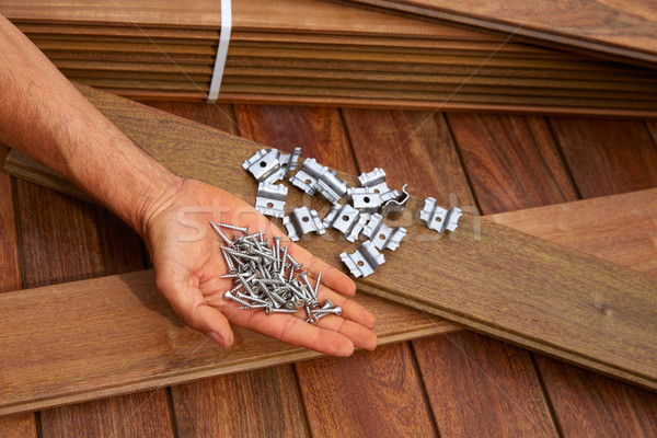 Ipe deck wood installation screws clips fasteners Stock photo © lunamarina
